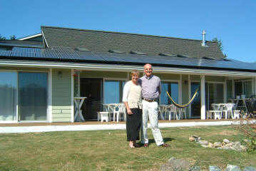Chris and Carolyn Eagan's home has an excellent sunny, south facing roof with a relatively low pitch (3:12) now outfitted with a 7.2 kW PV system.