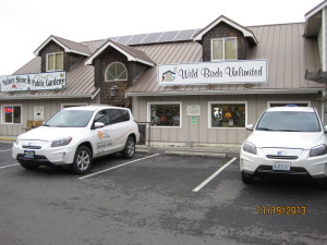 We learned about the Toyota RAV4 EV's the owners of WildBirds Unlimited in Gardiner.