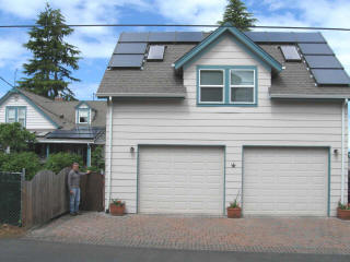 Silicon Energy modules measure 4 feet by 4 feet and have an integrated and unique racking system.   This Port Angeles home and detached garage each have their own 2.04 kW solar arrays.