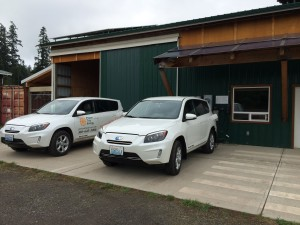 A pair of RAV4 EV's at Power Trip Energy's free solar powered EV charging location.